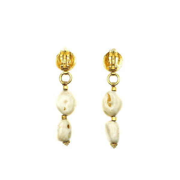 Vintage Chanel Gold Pebble Logo Earrings