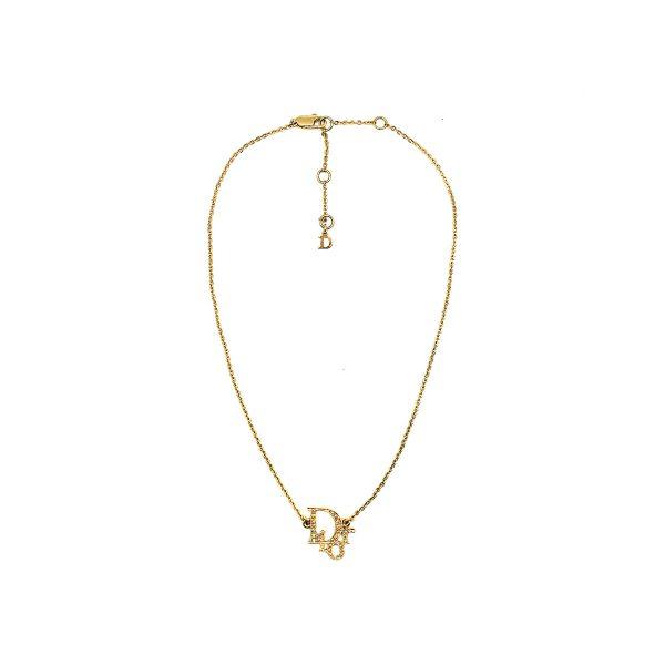 Vintage Dior Crystal Logo Necklace