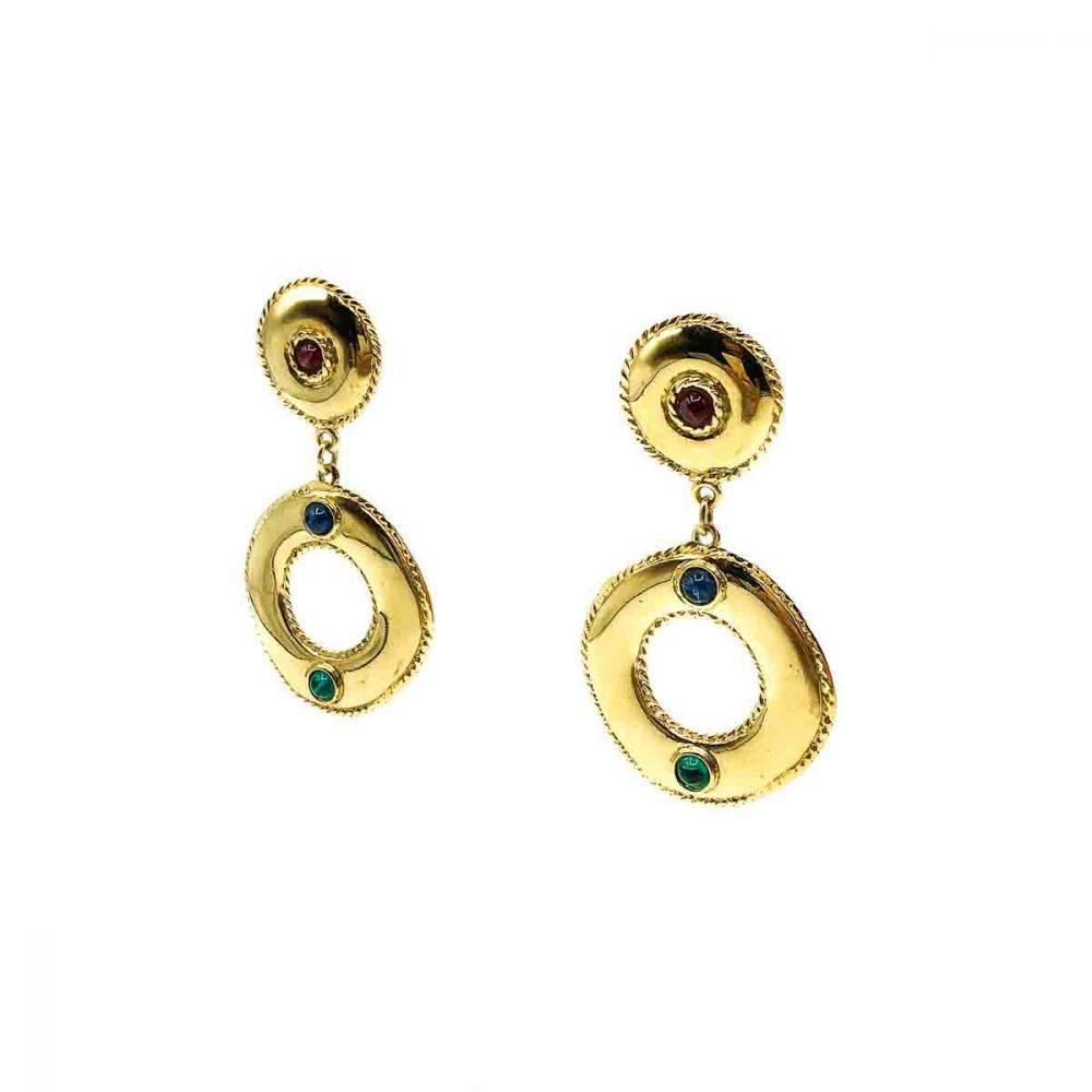 Vintage Givenchy Jewelled Hoop Earrings