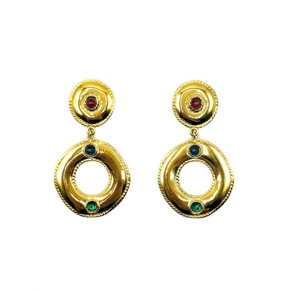 Jennifer Gibson Vintage Jewellery Vintage Givenchy Jewelled Hoop Earrings 658 (3)