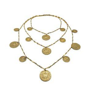 Vintage Goldette Coin Bib Necklace