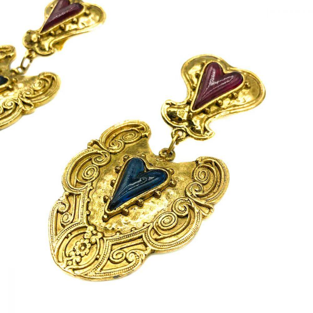 Vintage Heart Drop Earrings