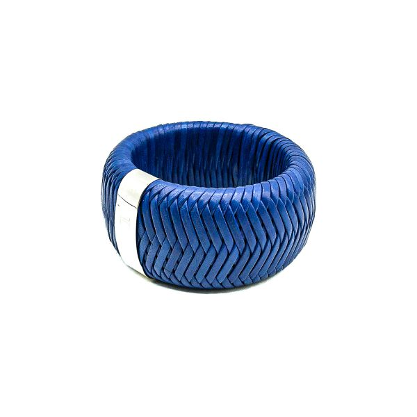 Dior Blue Leather Weave Bangle