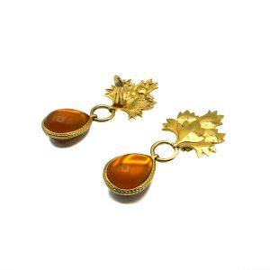 Vintage Amber Leaf Earrings