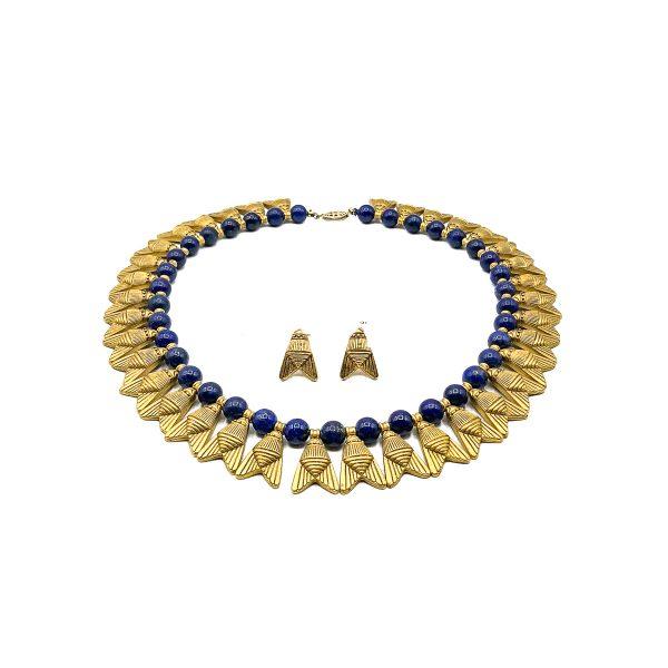 Vintage Egyptian Revival Lapis Collar