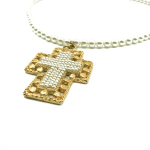 Vintage Jacky de G Paris Cross Necklace
