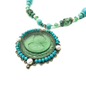 Vintage Turquoise Intaglio Necklace
