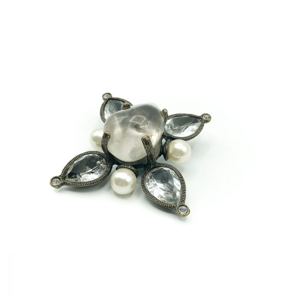 Vintage Chanel Pearl Crystal Brooch