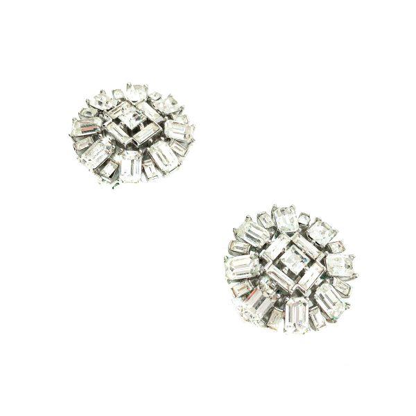 Trifari Silver & Crystal Cocktail Earrings