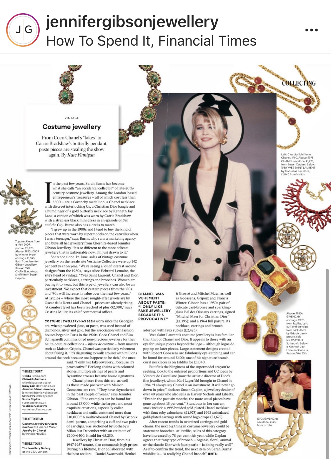 Frankie Herbert wears Jennifer Gibson Jewellery for Hello Magazine Cheltenham Races 2020