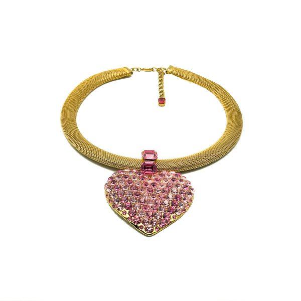 Vintage Crystal Heart Necklace