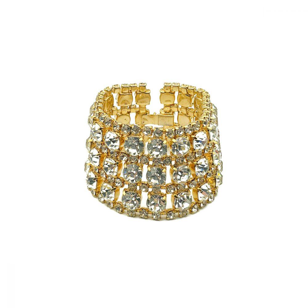 Vintage Gold Rhinestone Cuff