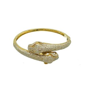 Vintage Silver Vermeil Panther Bangle