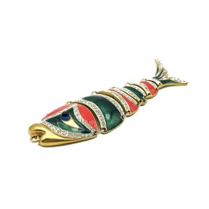 Vintage D'Orlan Enamel Fish Necklace