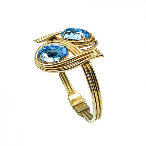 Vintage Blue Crystal Clamper Bracelet
