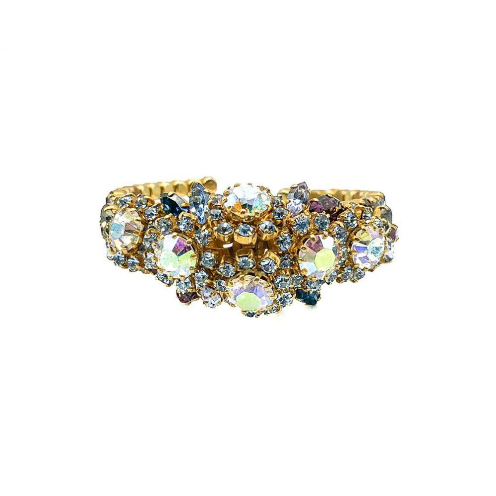 Vintage Pastel Rhinestone Cuff Bracelet