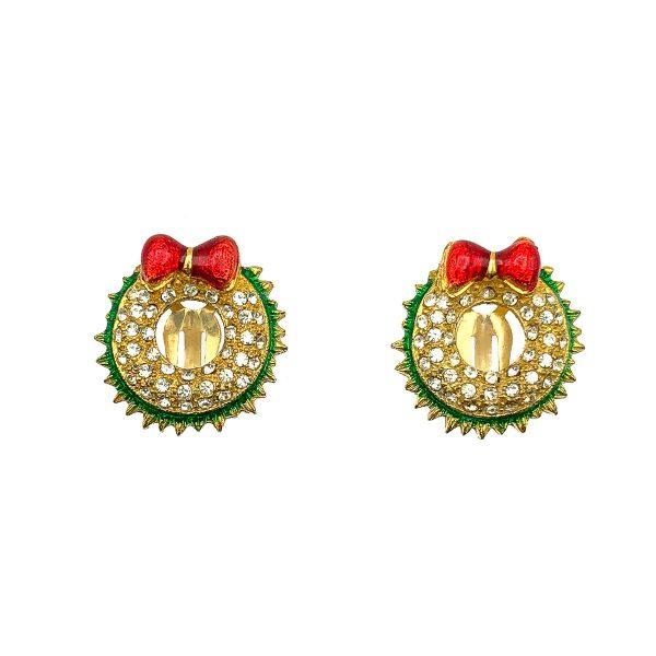 Vintage Christmas Wreath Earrings