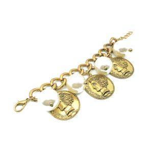 Vintage Pearl Coin Charm Bracelet