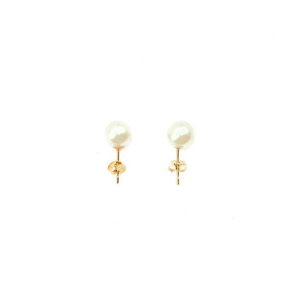 Vintage Gold Cultured Pearl Earrings