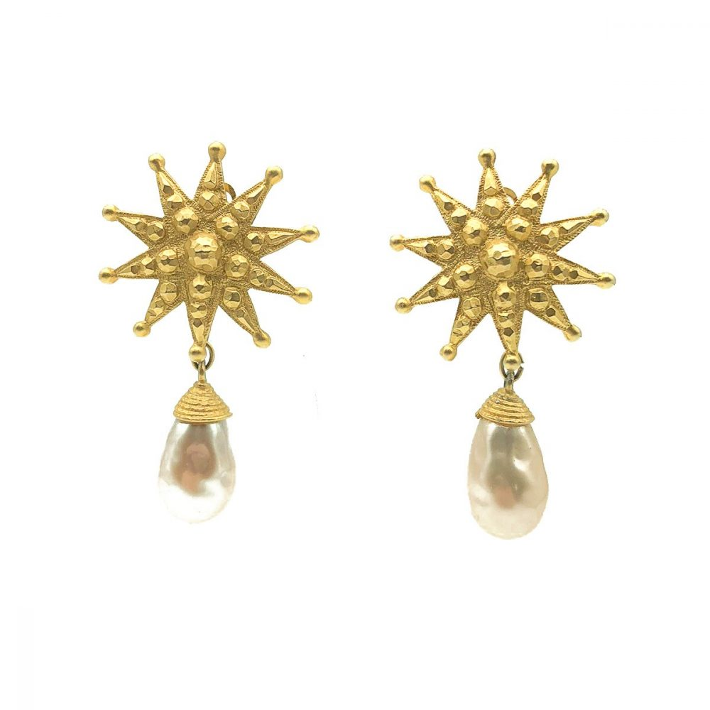 Vintage Merola London Starburst Pearl Earrings