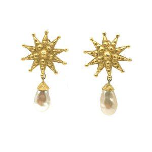Vintage Merola London Starburst Pearl Earrings