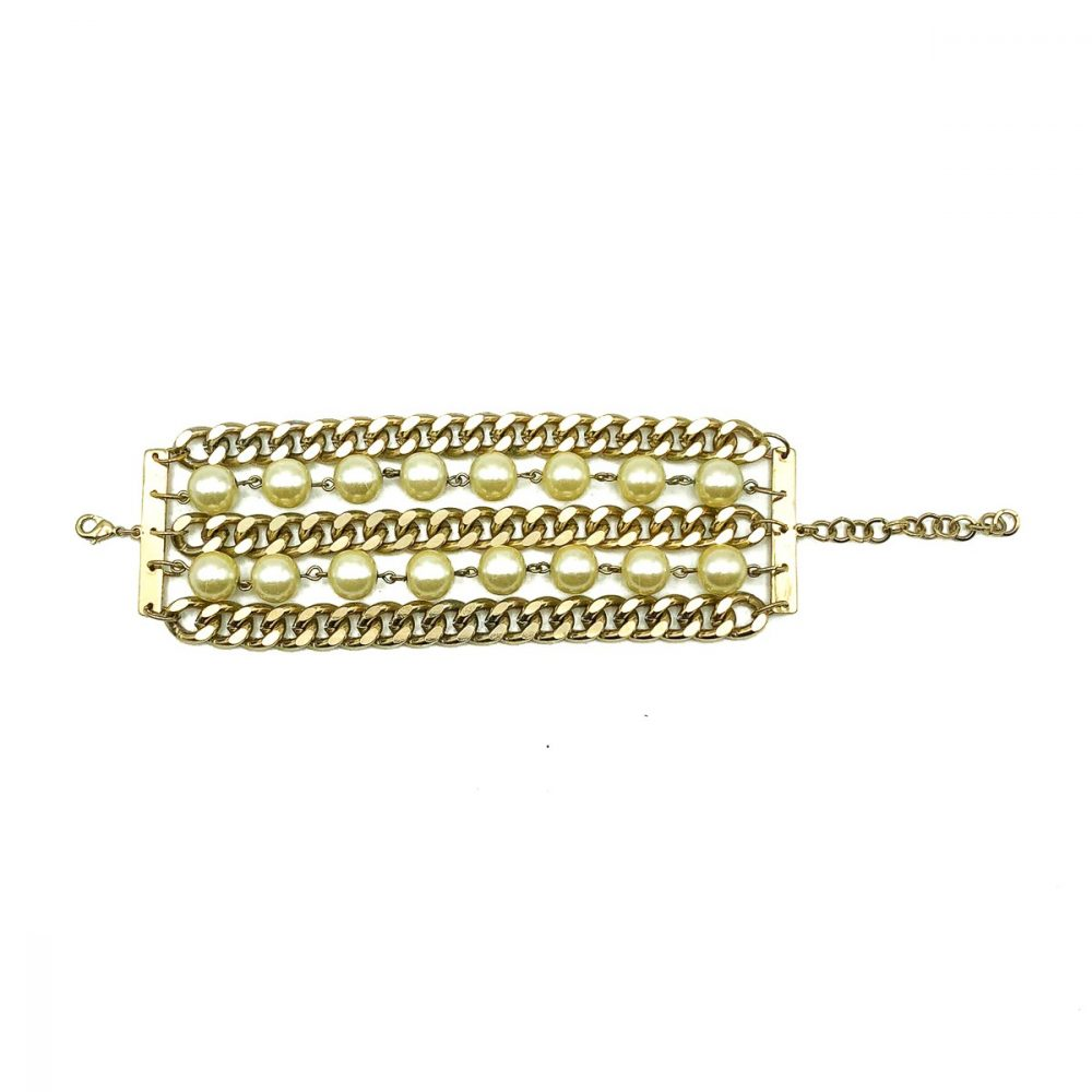 Vintage Pearl Chainmail Cuff