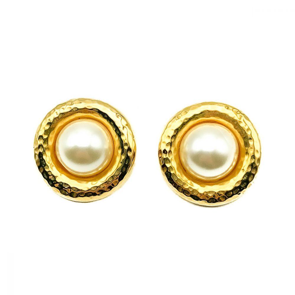 Vintage Pearl Hammered Earring