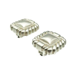 Vintage Silver Square Clip Earring