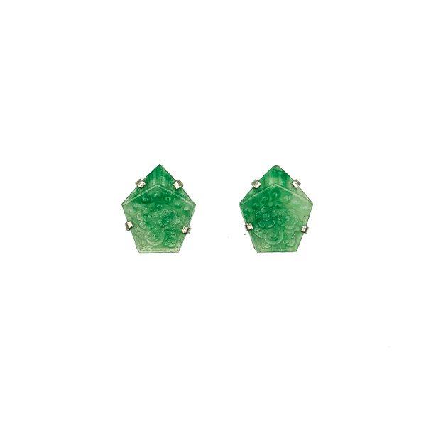 Deco Green Glass Sautoir