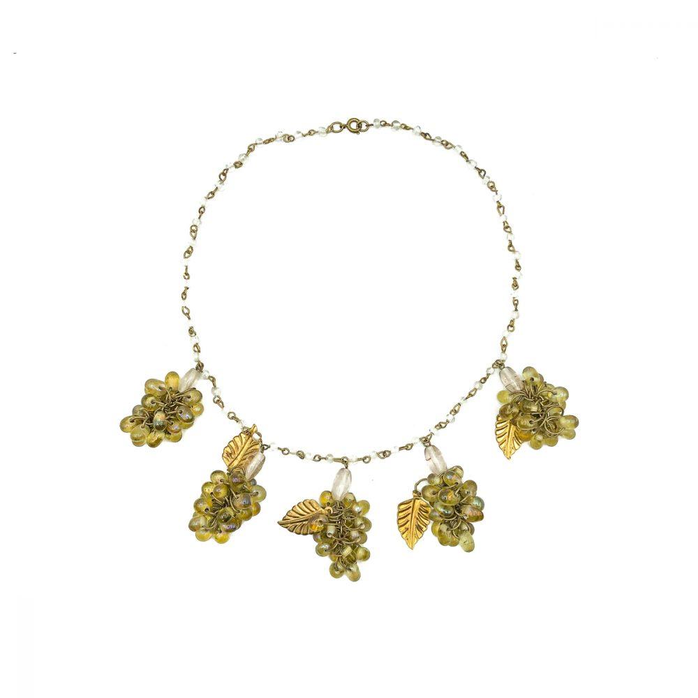 Vintage Glass Grape Necklace