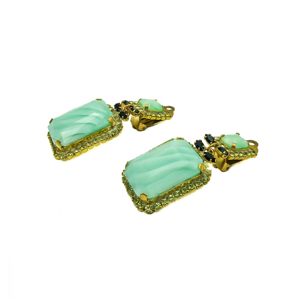 Vintage Green Drop Earrings