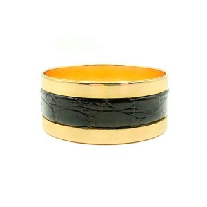 Vintage Grosse Gold Leather Bangle