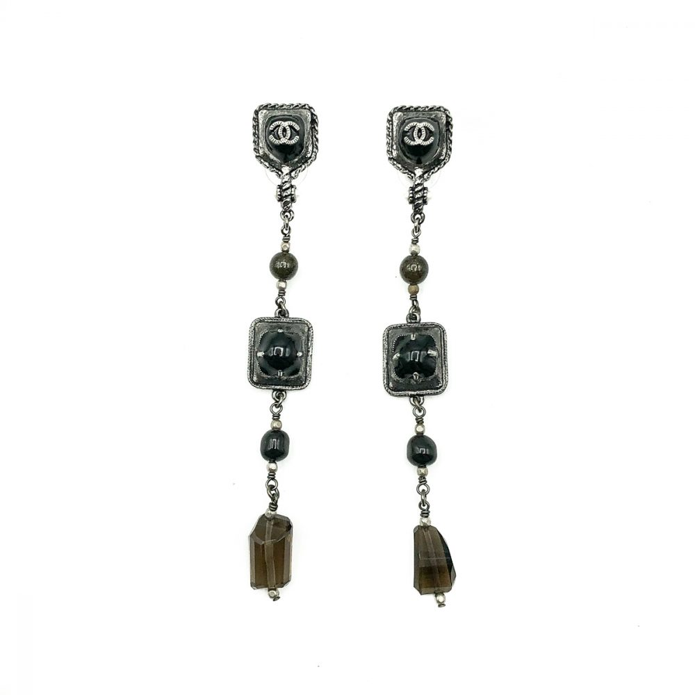 Chanel Gunmetal Drop Earrings