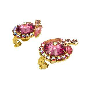 Vintage Pink Rivoli Earrings