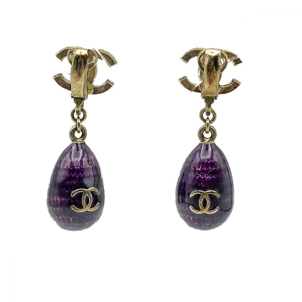 Vintage Chanel Purple Bomb Earrings