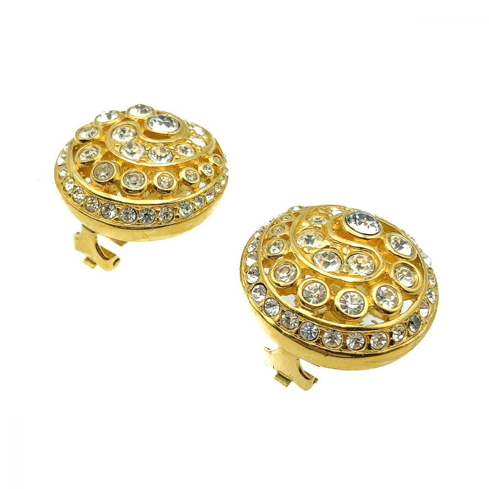 Vintage Dior Crystal Swirl Earrings