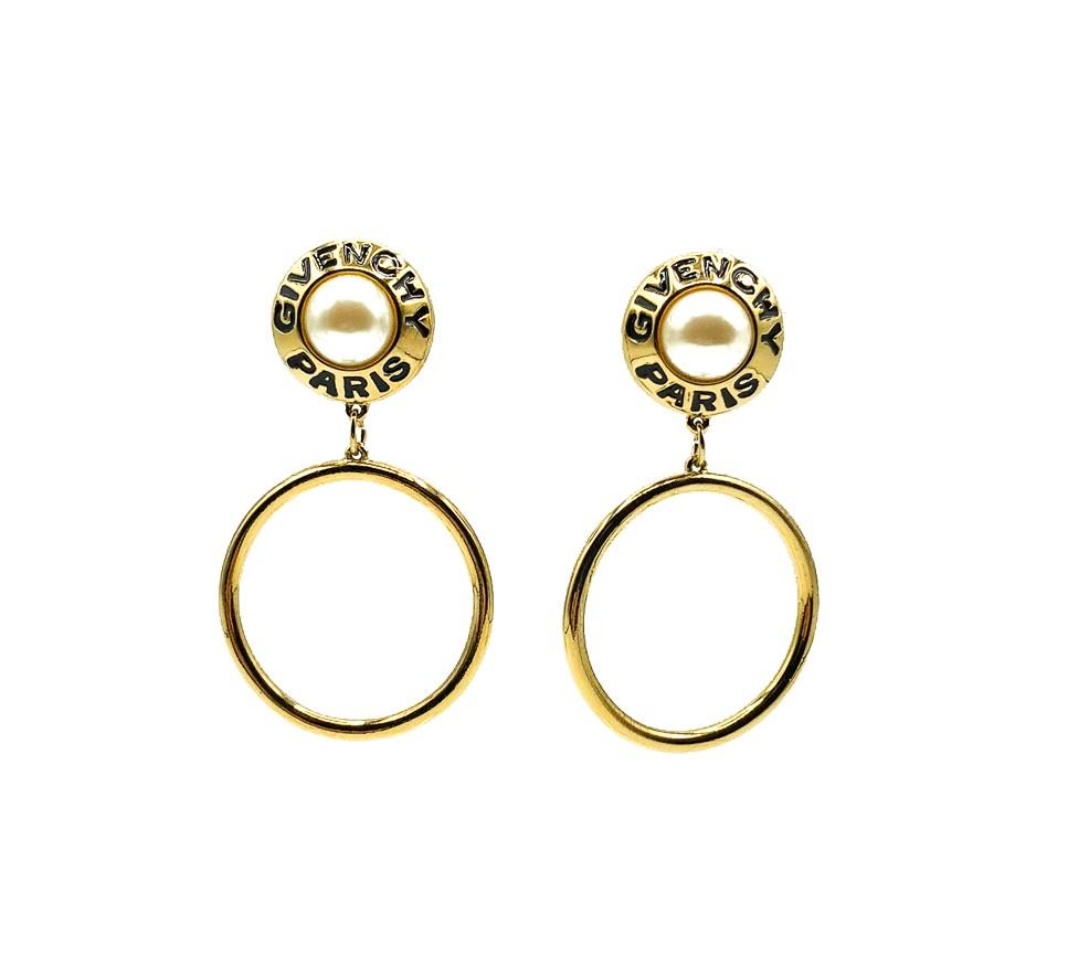 Vintage Givenchy Logo Hoop Earrings