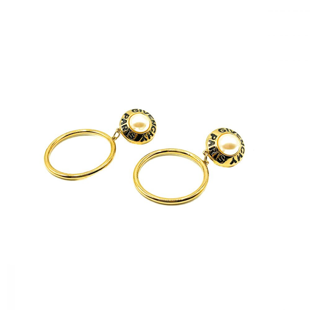Vintage Givenchy Logo Hoop Earrings