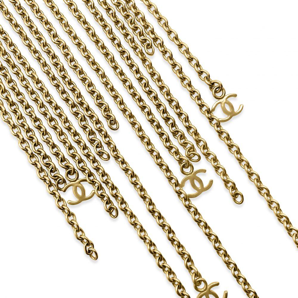 Vintage Chanel Fringe Logo Necklace