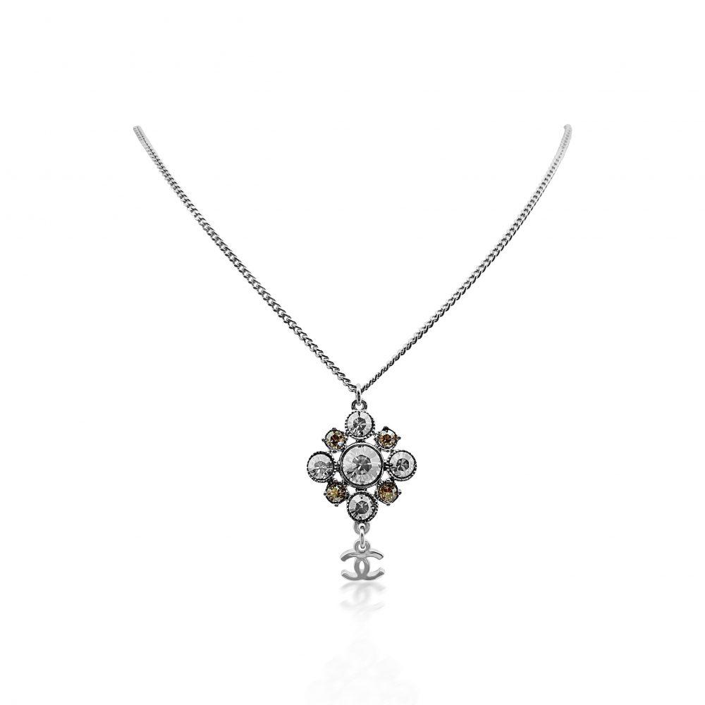 Chanel Crystal Logo Necklace