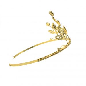 Vintage Gold & Crystal Flower High Tiara