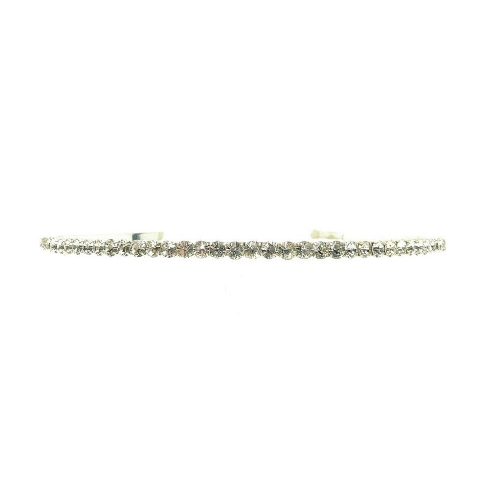 Vintage Silver &Crystal Line Hairband Tiara