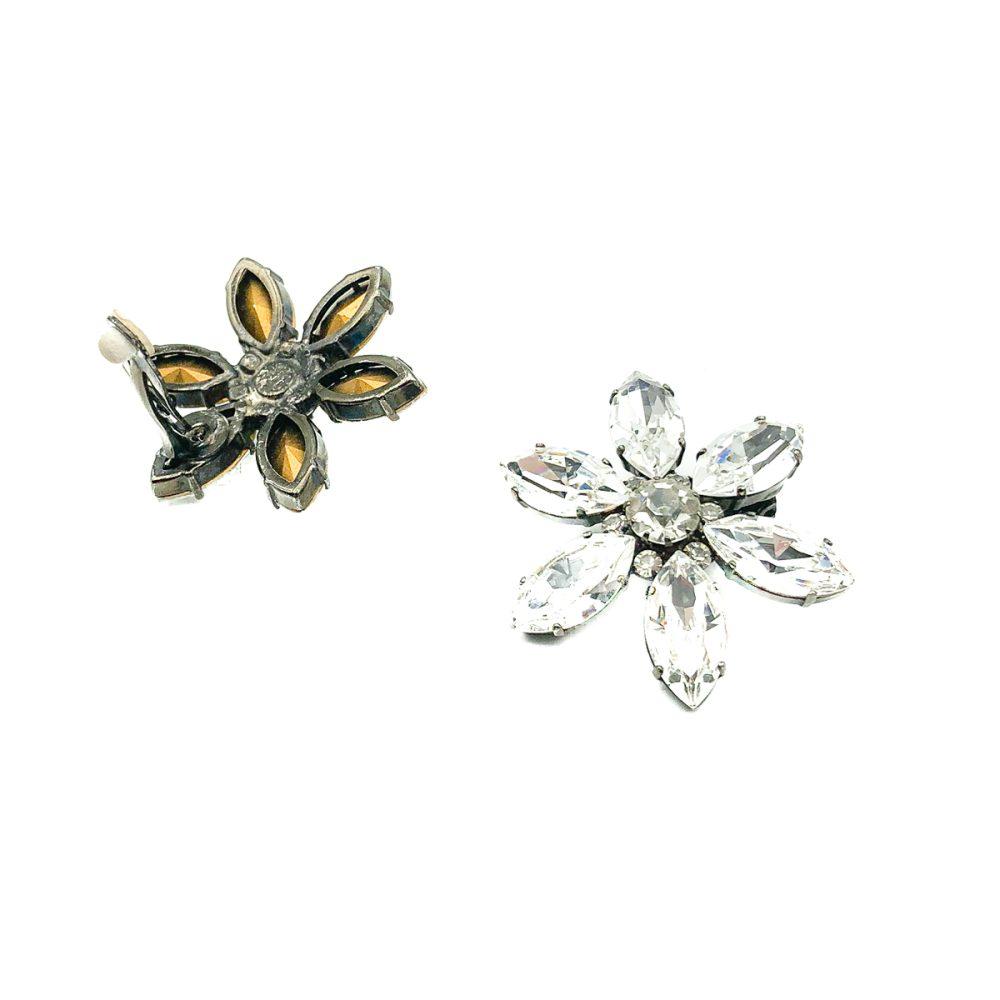 Vintage crystal flower earrings