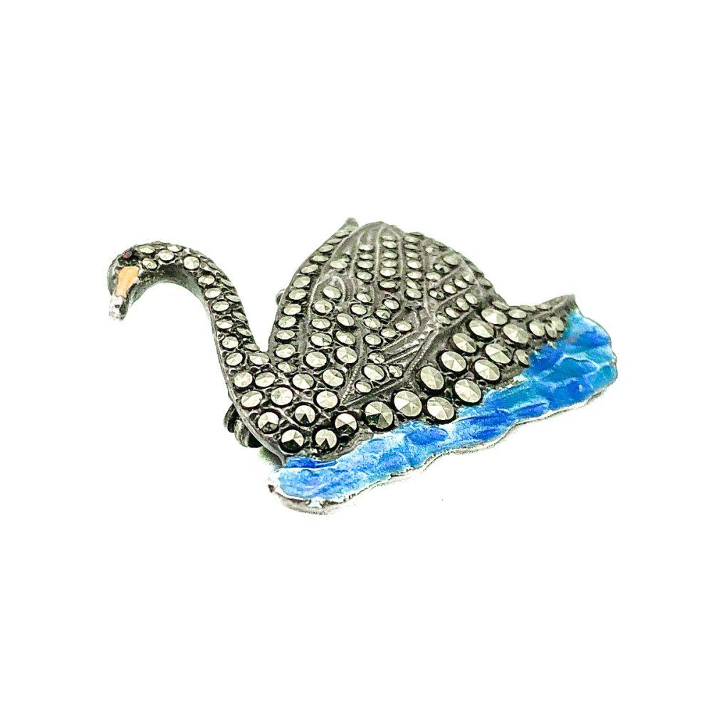 Antique Silver Swan Brooch