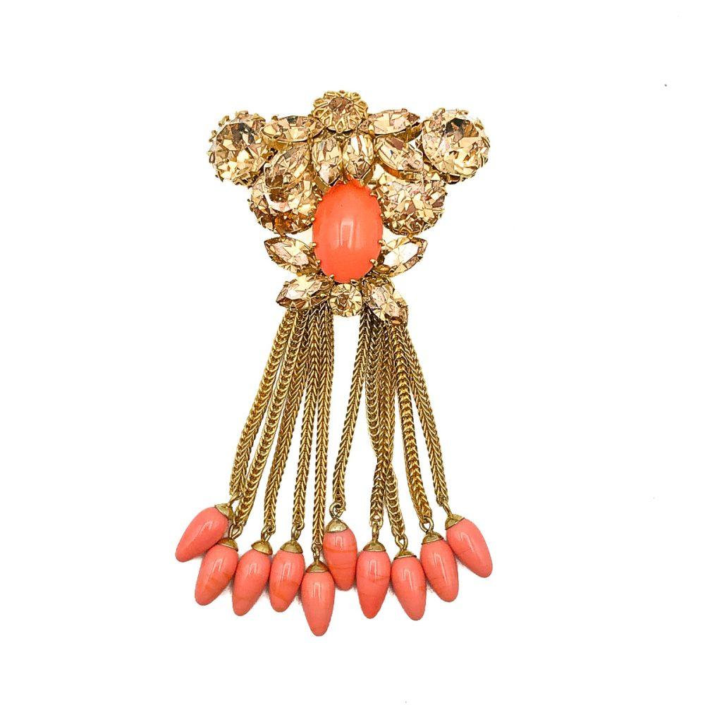 Vintage Coral Tassel Brooch