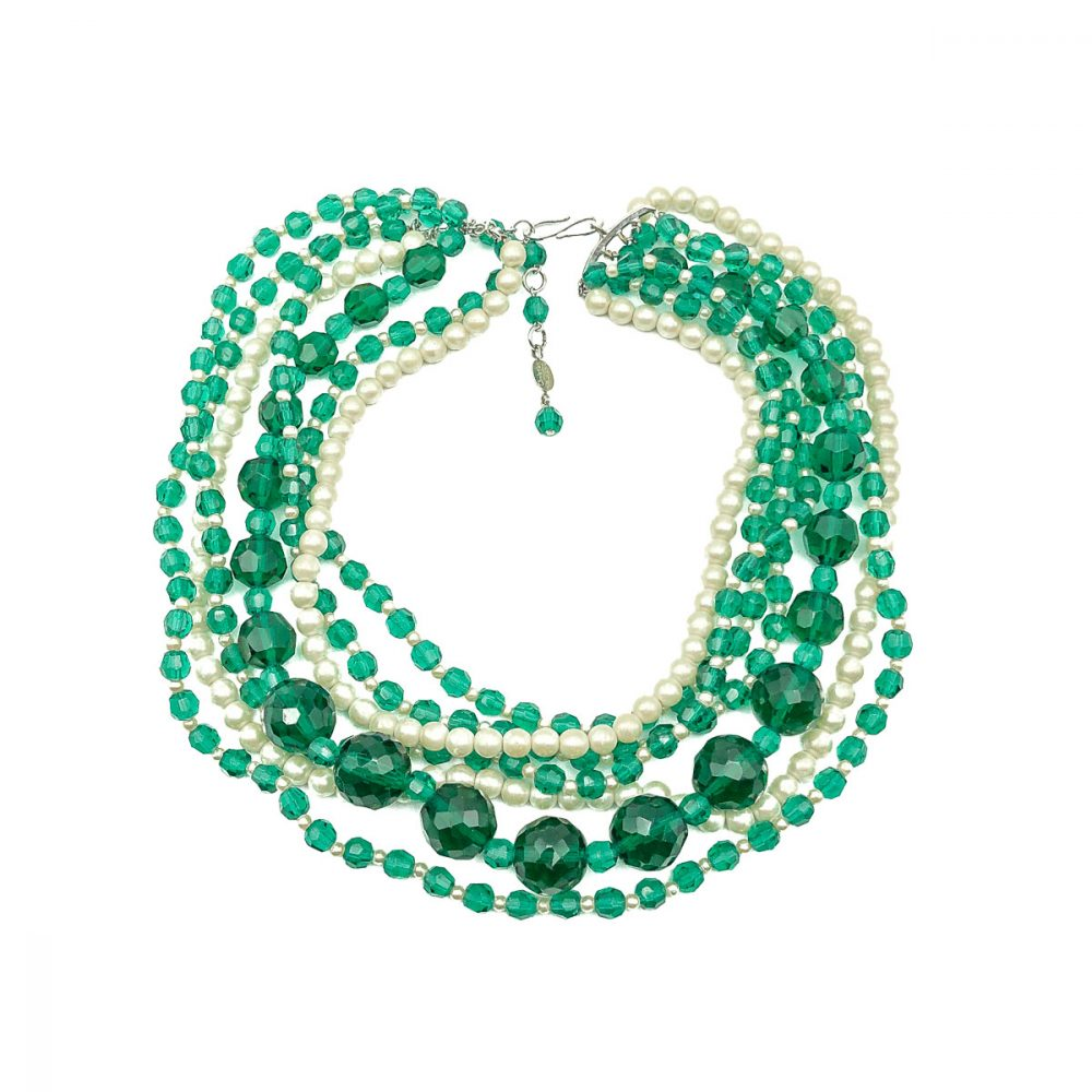 Vintage Dior Emerald Glass Necklace