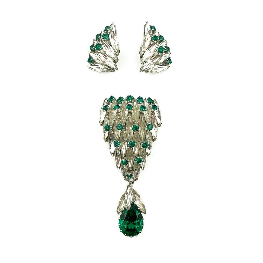 Vintage Efbi Austria Emerald Brooch
