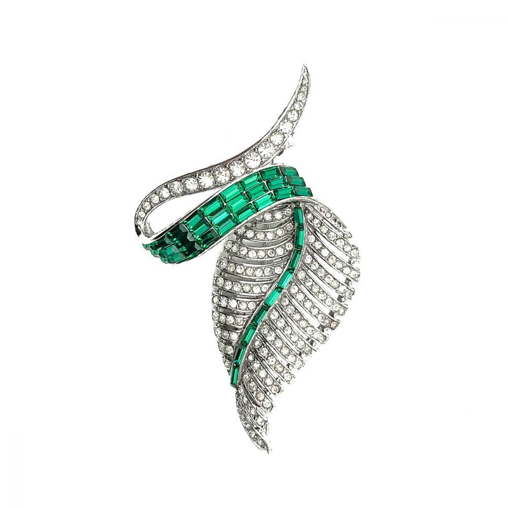 Vintage Emerald Leaf Brooch